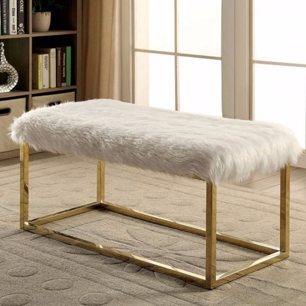 Shaggy Contemporary Large Bench, White & Gold