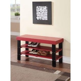 Rectangular Wooden Bench With 2 Shelves, Red