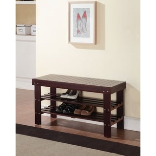 Rectangular Wooden Bench With 2 Shelves, Espresso Brown