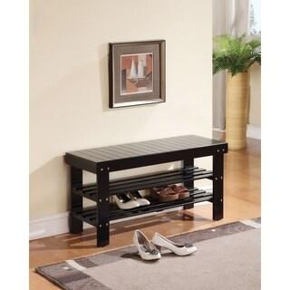 Rectangular Wooden Bench With 2 Shelves, Black