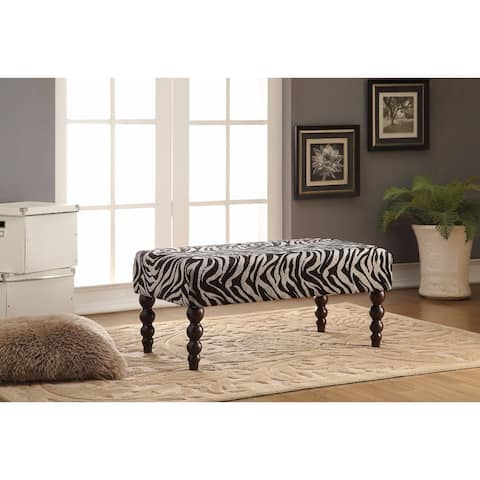 Wooden Bench, Zebra Fabric, Black and White