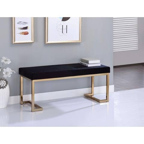 Astonishing Bench, Black Fabric & Gold