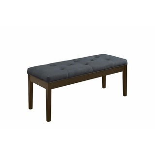 Wooden Bench With Fabric Seat, Gray Linen & Walnut Brown