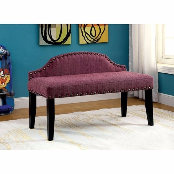 Hasselt Attractive Spacious Padded Bench With Nail Trim, Small, Purple