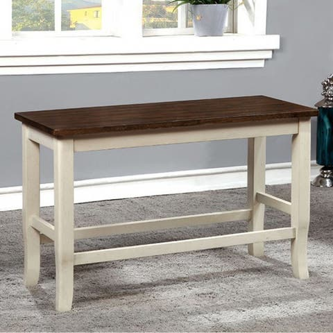 Dover II White and Cherry Counter Height Bench