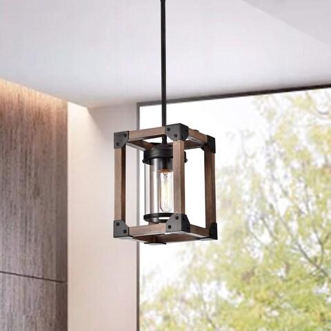 Daniela Antique Black Wooden Cage Glass Cylinder Pendant Chandelier