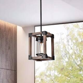 Daniela Antique Black Wooden Cage Glass Cylinder Pendant Chandelier - N/A