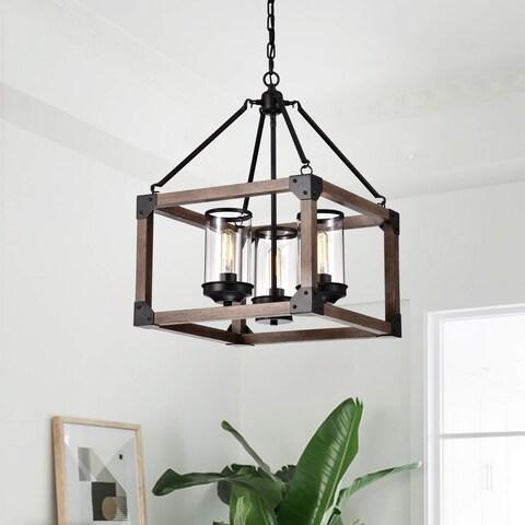 Daniela 3-light Antique Black Wooden Cage Glass Cylinders Cage Pendant