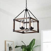 Daniela 3-light Antique Black Wooden Cage Glass Cylinders Cage Pendant Chandelier