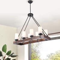 Daniela Antique Black Linear Rectangular Wood Chandelier with Frosted Glass Globes