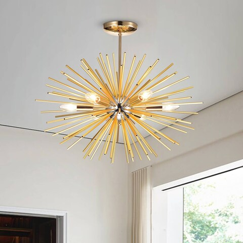 Lorena Sputnik Industrial Chandelier with Chrome and Champaign Gold Finish