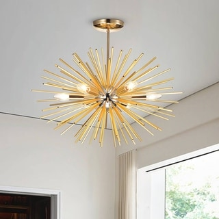 Link to Lorena Sputnik Chrome and Champaign Gold Industrial Chandelier Similar Items in Chandeliers
