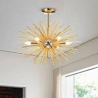 Lorena Sputnik Chrome and Champaign Gold Industrial Chandelier