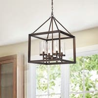 La Pedriza 4-Light Square Cage Chandelier in Antique Brass Finish with Clear Glass Globes