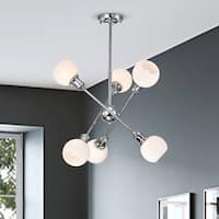 Lorena Sputnik Chrome Finish Frosted Glass Pendant Chandelier