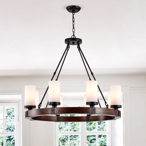 Daniela Antique Black Round Wood Chandelier with Frosted Glass Globes