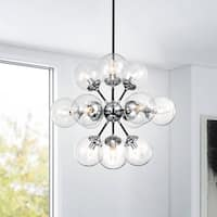 Lorena Sputnik Chrome Finish Clear Glass Globe Industrial Pendant Chandelier