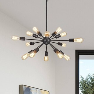 Lorena Sputnik Antique Black 15-Light Industrial Pendant Chandelier