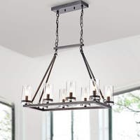 Daniela Antique Black Linear Glass Cylinder Chandelier with 2 Chains