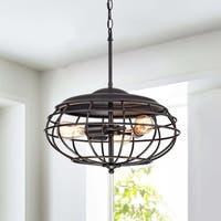 Cecilia Antique Black 3-light Industrial Iron Cage Pendant Chandelier