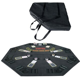 "48"" Folding Blackjack Texas Holdem Octagon Poker Table Top Black with Carrying Bag"