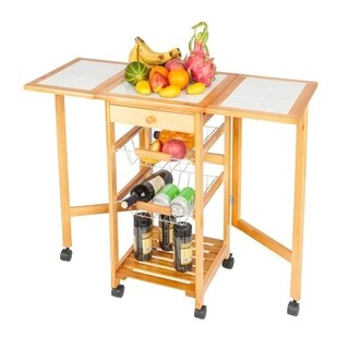 Folding Wood Drop Leaf Kitchen Island Trolley Cart Storage Drawers Baskets