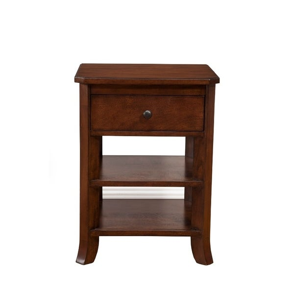 Chicly Trimmed Mahogany Solids & Veneer Nightstand, Brown
