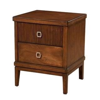 2 Drawer Mahogany Wood Nightstand In Transitional Style Brown