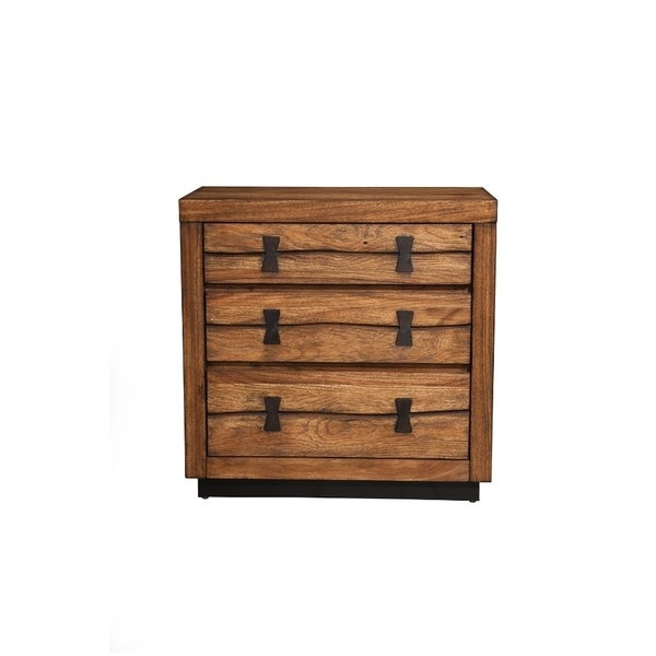 Well Designed 3 Drawer Nightstand In Mahogany Wood Brown