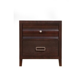 Wooden Nightstand with 2 Drawer, Cherry Brown