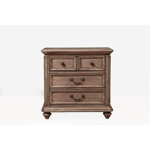 Mahogany Wood 4 Drawer Nightstand in French Truffle Brown