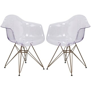 Transparent Crystal Modern Mid-Century Designed Arm Chair with Artistic Gold Metal Legs