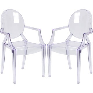 Ghost Design Transparent Crystal Round Back Arm Chair