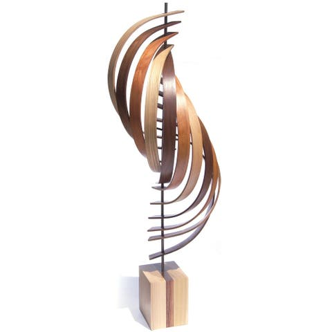 Jackson Wright 'Ascension' 11in x 45in Contemporary Wood Ribbon Sculpture - Brown