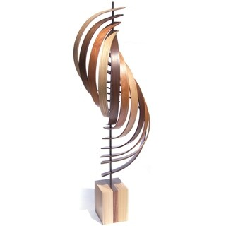 Jeff Linenkugel 'Ascension' 11in x 45in Contemporary Wood Ribbon Sculpture - Brown