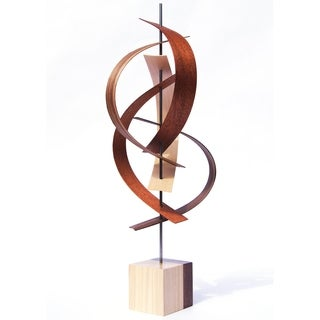 Jeff Linenkugel 'Sails' 8in x 21in Contemporary Wood Ribbon Sculpture - Brown