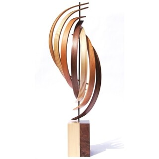 Jeff Linenkugel 'The Climb' 10in x 30in Modern Wood Sculpture on Natural Wood - Brown