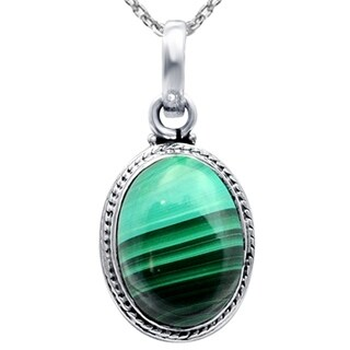 Handmade Sterling Silver Oval Cabochon Pendant Necklace with Turquoise and Malachite