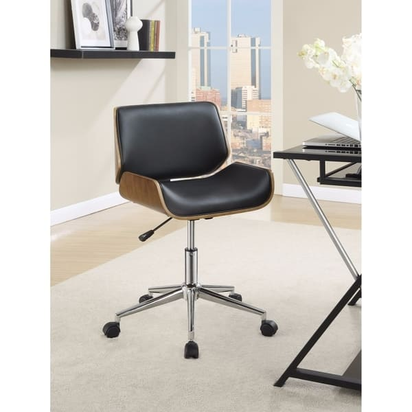 Shop Contemporary Small Back Home Office Chair Black Walnut Overstock 21440413