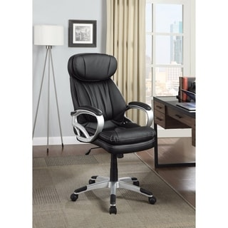 Leather, Executive-Style Office Chair, Black