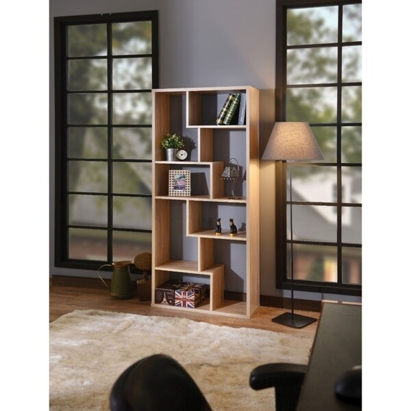 Weathered Oak Brown Wooden Cube Bookcase