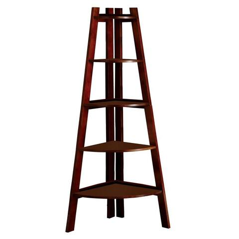 Five Tiered Wooden Ladder Shelf in Contemporary Style, Cherry Brown