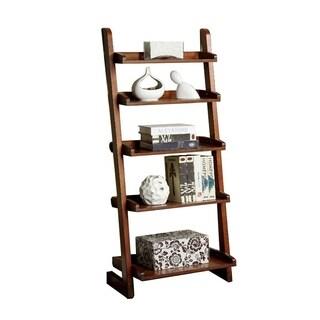 Lugo Transitional Style Ladder Shelf, Antique Oak Finish