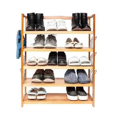 5-Tier Shoe Rack 6 Pairs Shoe Shelf Storage Organizer Entryway Wooden