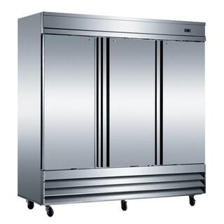 "EQ Kitchen Line Stainless Steel Commercial 3-Door Reach-In Refrigerator, 80.87""L x 32.25""W x 82.5""H"