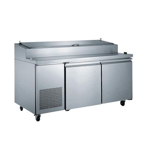 """EQ Kitchen Line Stainless Steel Commercial 2-Door Pizza Prep Table Refrigerator, 70.87""""L x 31.5""""W x 42.87""""H"""