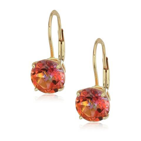 10k Yellow Gold Sunset Topaz Round Lever Dangle Earrings