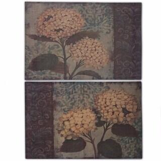 Burlap Flower Wall Decor, Multicolor, Set Of 2