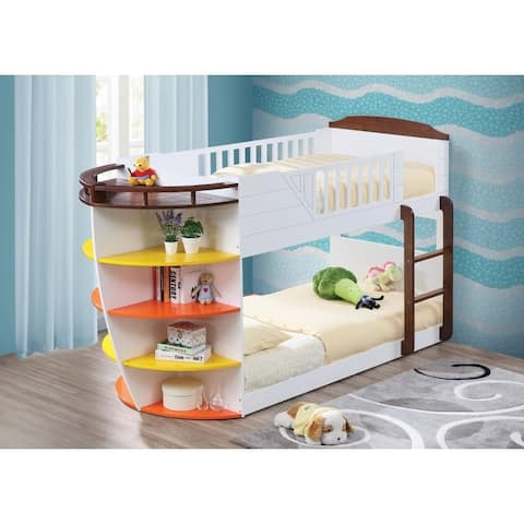 Wooden Twin/Twin Bunk Bed with Storage Shelves, White & Chocolate