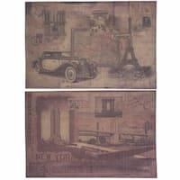 Burlap NY & Paris Wall Decor, Beige, Set Of 2